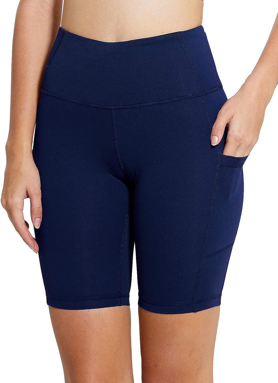 BALEAF Womens 8 High Waist Yoga Workout Shorts Tummy Control Side Pockets Running Compression Shorts