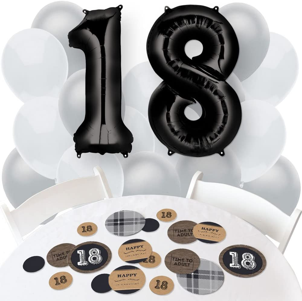18th Milestone Birthday Dashingly Aged to Perfection Combo Kit Confetti and Balloon Party Decorations