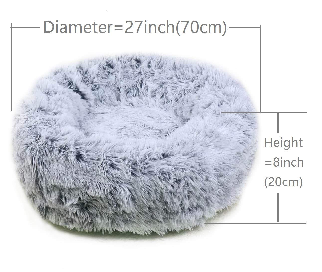 Long Plush Round Pet Kennel Beds for Dogs & Cats (L)