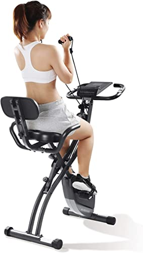 MaxKare Exercise Bike Slim Cycle 3-in-1 Folding Stationary Bike Recumbent Exercise Bike Machine Home Seated Portable