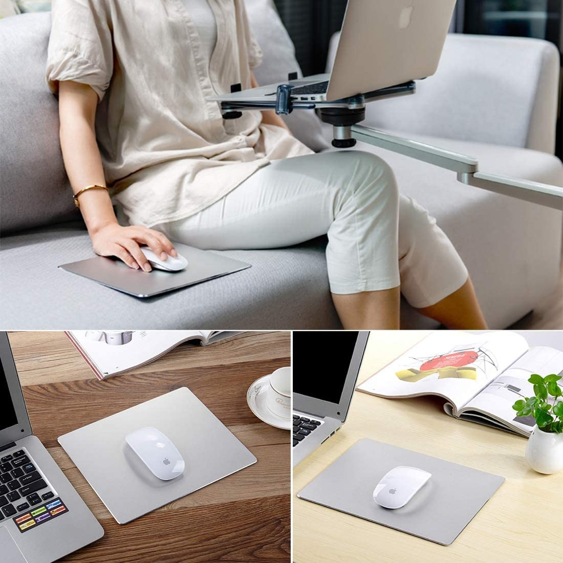 Wireless Mouse Keyboard Mouse Extended Large Slim Anti-Slip Aluminium Alloy Game and Office Keyboard Mouse Pad Mat New Bluetooth Color : Silver Black Size: 240 x 170 x 4 mm