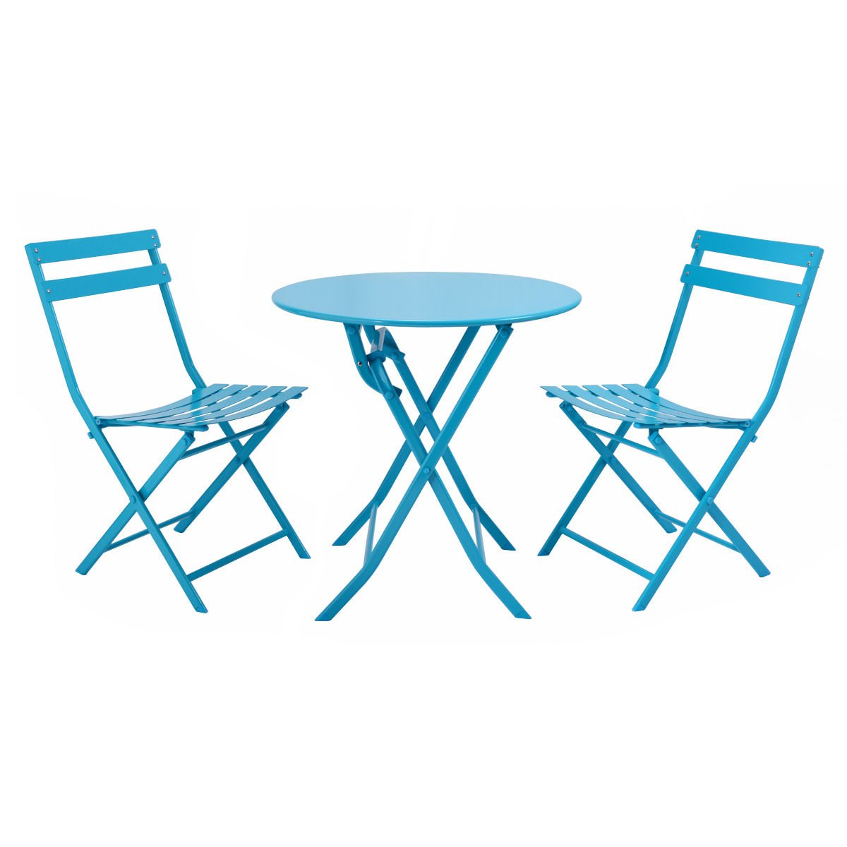 3 Pcs. Blue Table Chair Set Foldable Outdoor Patio Garden Pool Metal Furniture by Allblessings (Image #4)