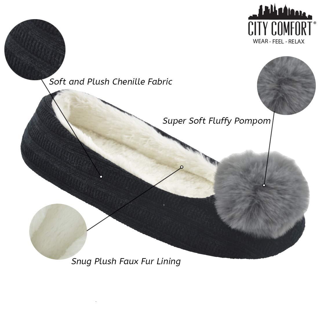 CityComfort Pantoufles en Peluche Charentaises Femme Pantoufle Hiver Charentaise Maison Chaussons Femmes Mules en Chenille Arc-en-Ciel Rose Noir