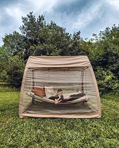 Abba Patio Outdoor Canopy Cover Hanging Swing Hammock with Mosquito Net 7.6x4.5x6.7 Ft, Tan