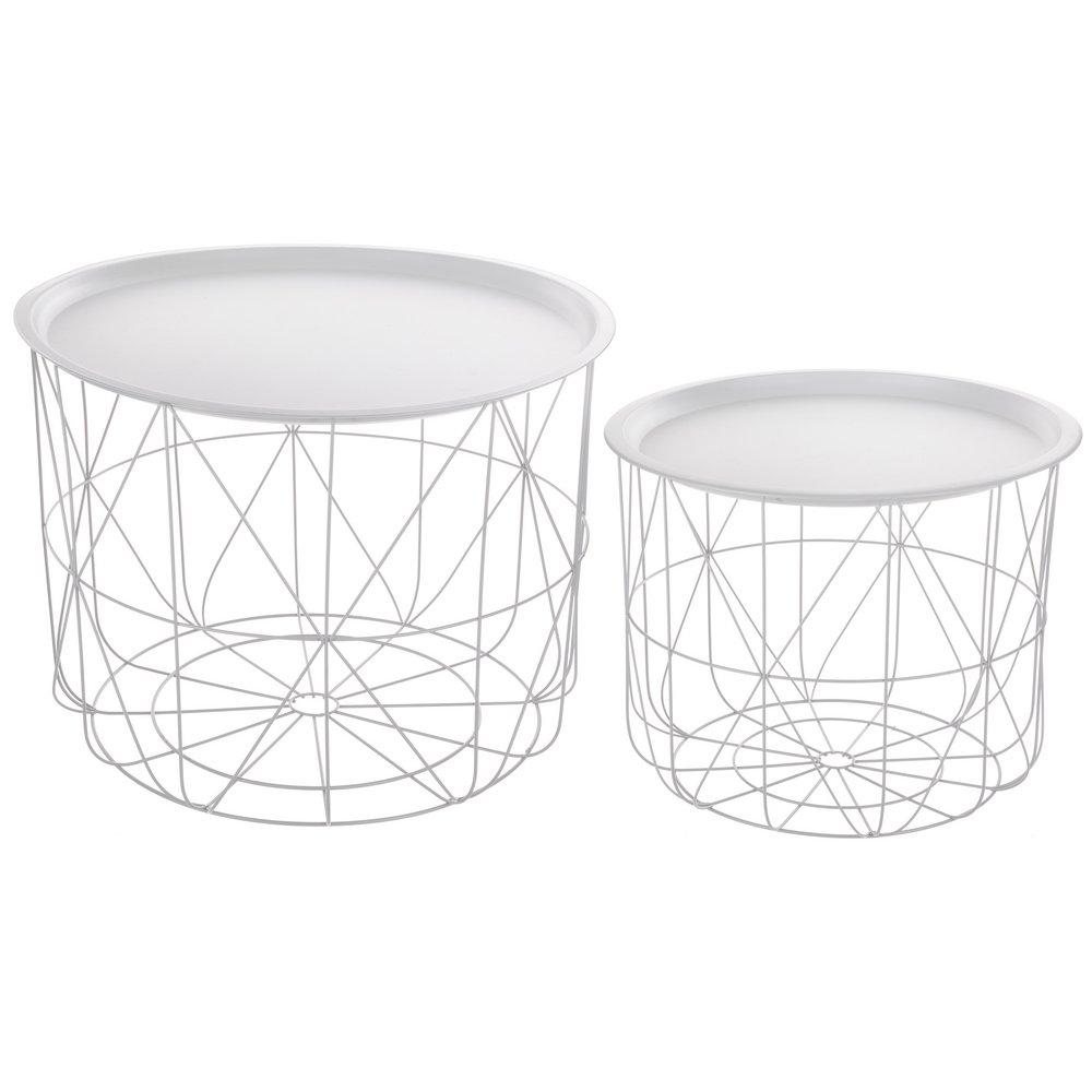 2-teiliges Set  ineinander passende Kaffeetische mit abnehmbarer Platte - modernes Design - Farbe WEIß