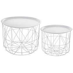 Atmosphera 2 nested coffee tables with removable table tops- Modern design- Colour WHITE