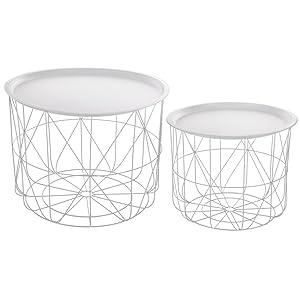 Set di 2 tavolini da caffè impilabili con ripiani amovibili - Design e moderni - Colore: BIANCO
