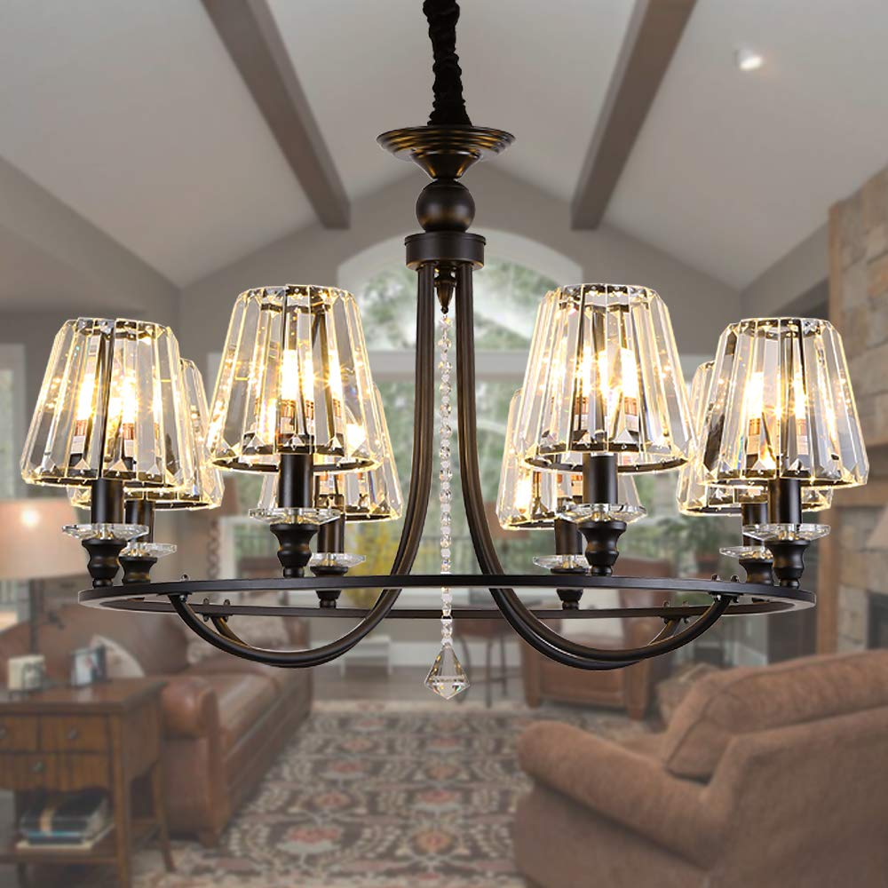 Osairuos 8 lights crystal chandeliers modern farmhouse ceiling light fixtures rustic pendant lighting living dining room foyer entryway chandelier