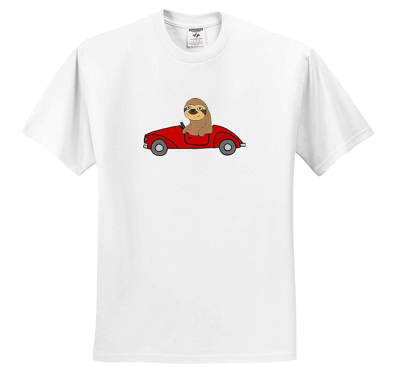 3dRose All Smiles Art ts/_317712 Adult T-Shirt XL Funny Cute Sloth Driving Red Convertible Car Cartoon Funny