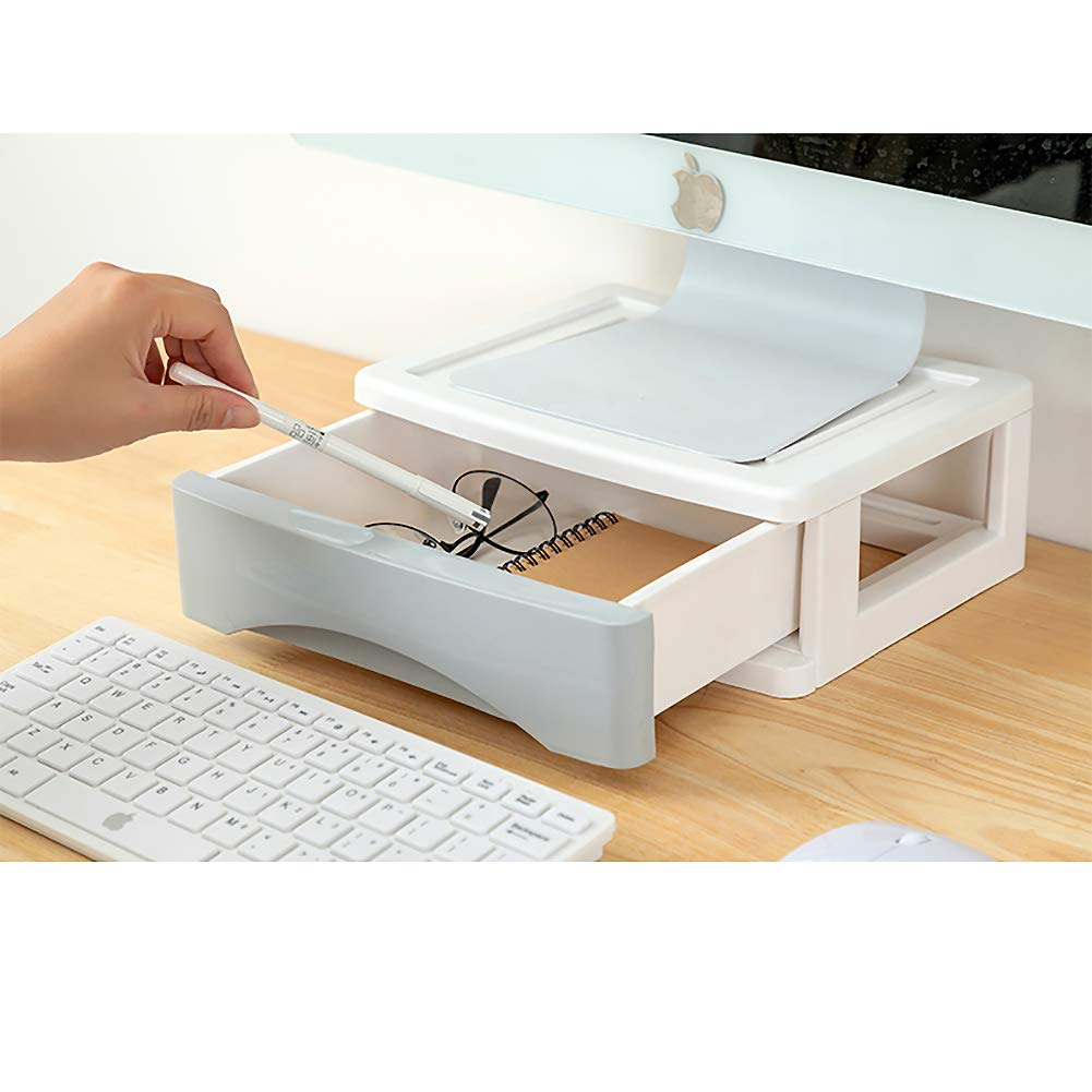 Soporte Elevador Ahorra Espacio Equipo iMac de Ordenador port/átil Escritorio-Azul Soporte para Monitor Organizador de Escritorio con caj/ón