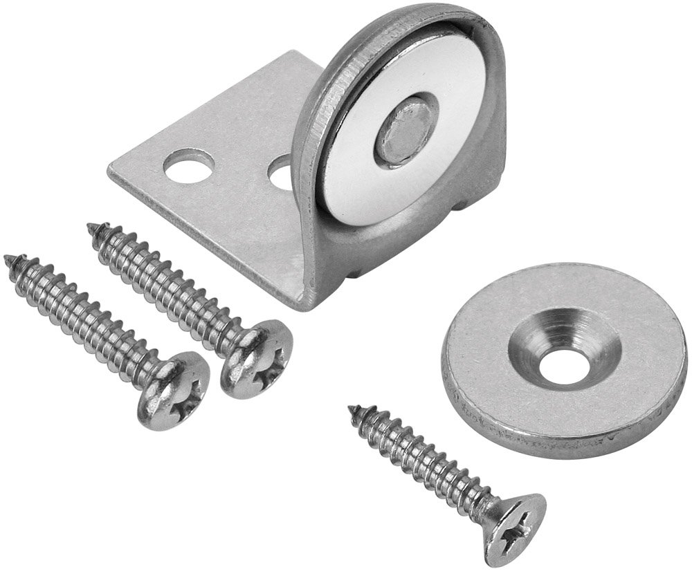 Woodworker's Supply, Inc. 166412, 10-Pack,''Hardware, Locks and Latches, Magnetic Catches'', 1'' Ss Magnetic Catch with Bracket (40lb)