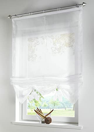 Uphome 1pcs Liftable Organza Kitchen Balcony Curtains   Tie Up Roman Window  Shades   Sheer
