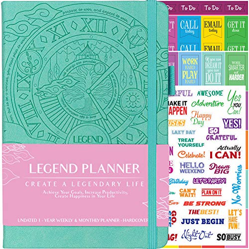 Legend Planner - Deluxe Weekly & Monthly Life Planner to Hit Your Goals & Live Happier. Organizer Notebook & Productivity Journal. A5 Hardcover, Undated - Start Any Time + Stickers ()