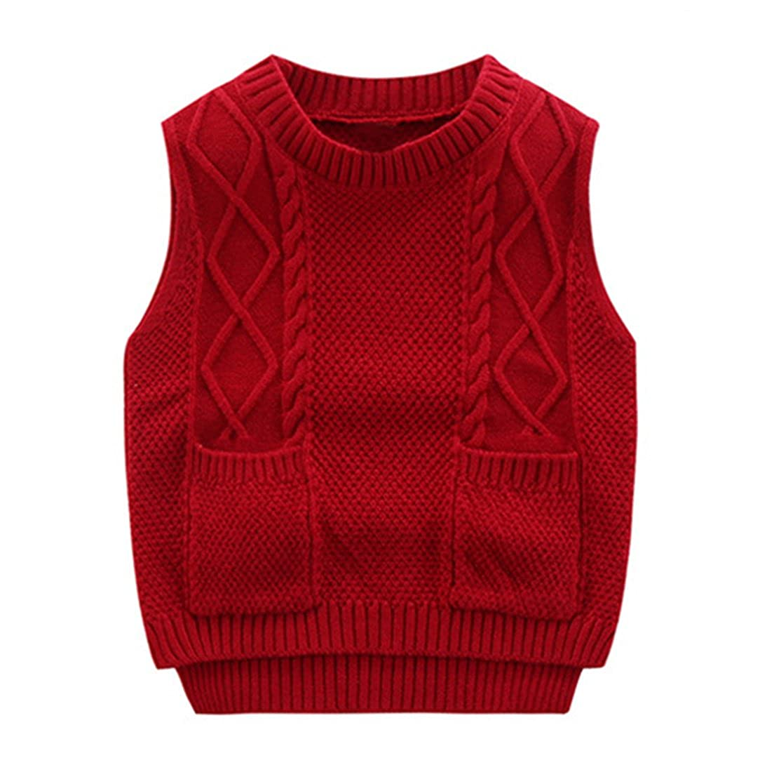 Congcong Unisex Baby Boy's Girls Cable Knit Vest Cotton Pullover Sweater with Pockets