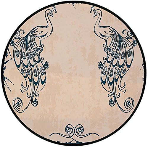 Printing Round Rug,Peacock Decor,Vintage Style Artwork with Peacocks Ornamental Lines Classic Artful Home Deco Mat Non-Slip Soft Entrance Mat Door Floor Rug Area Rug For Chair Living Room,Beige Teal - Kashan Classic Beige Rug