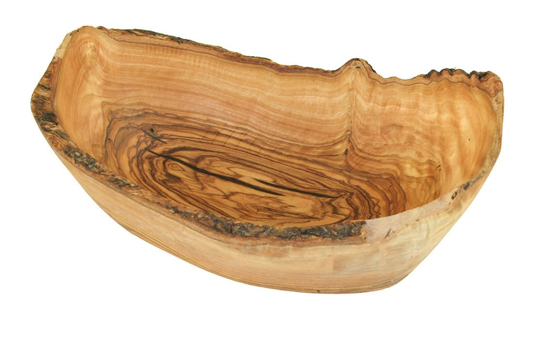 Naturally Med - Olive Wood Rustic Fruit Bowl (Boat-Shaped) 6.5 inch