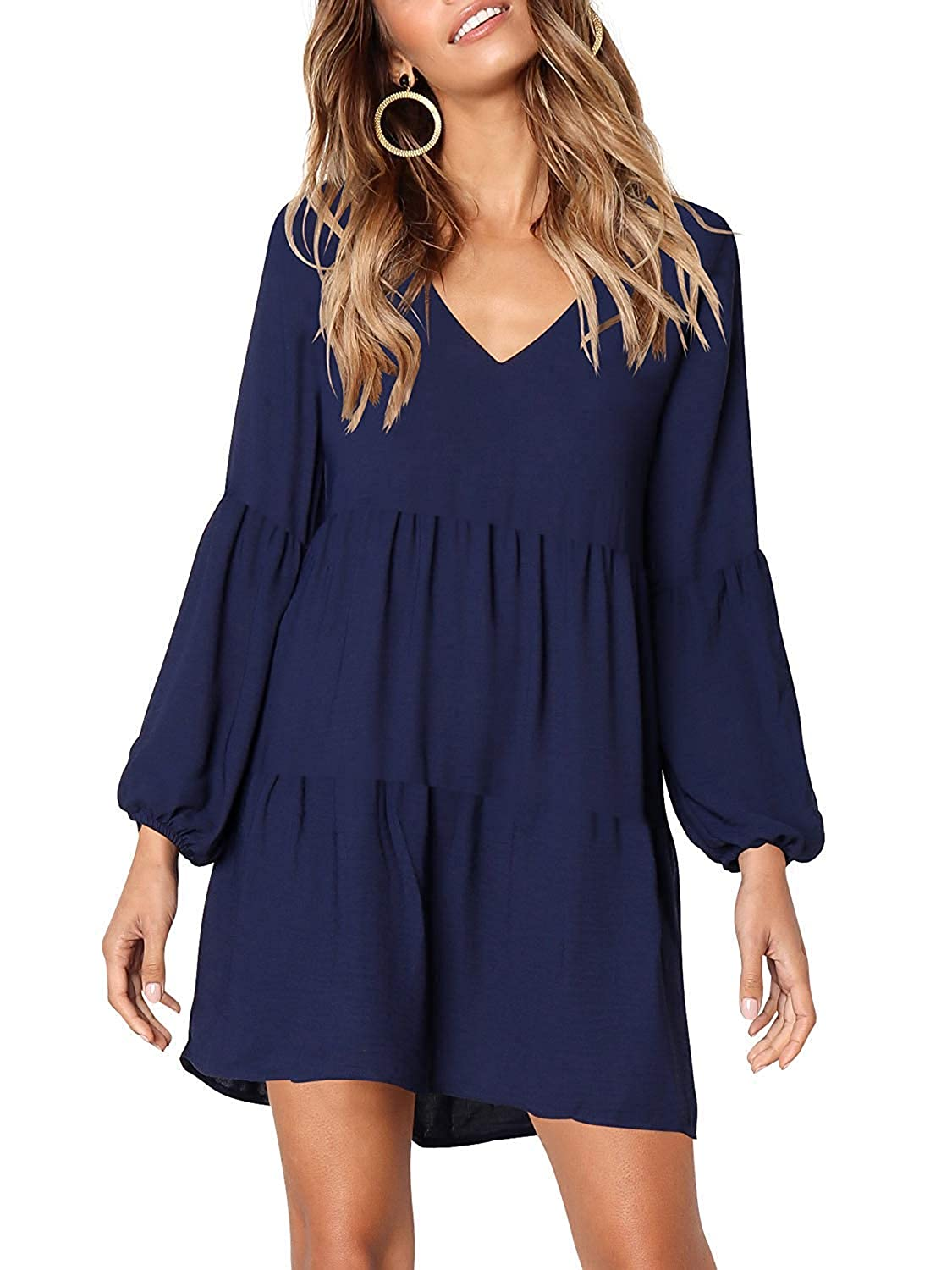 Classic Navy Queenie Visconti 3 4 Sleeves color Block Casual Dresses for Women Fall Clothes