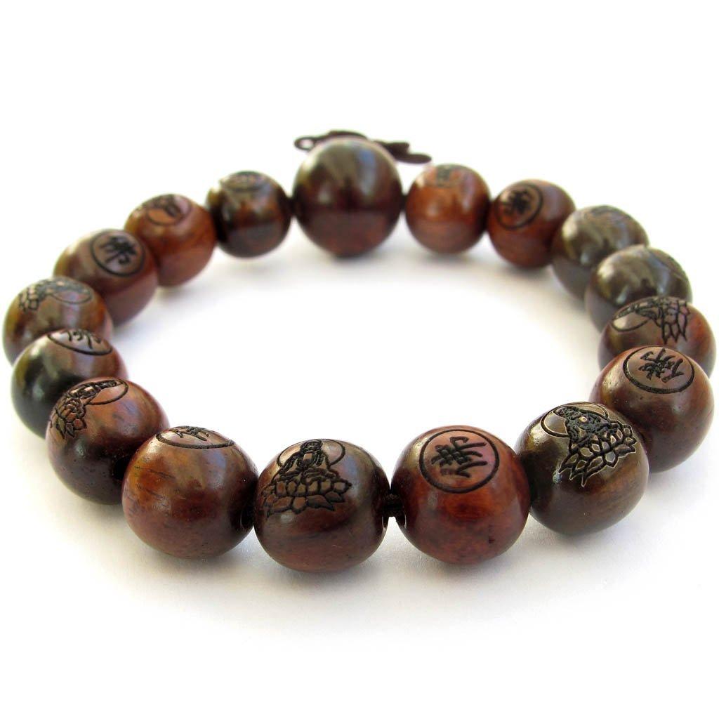 Tibetan Buddhist 12mm Wood Beads Fo Kwan-yin Mala Meditation Wrist Bracelet by OVALBUY T1592