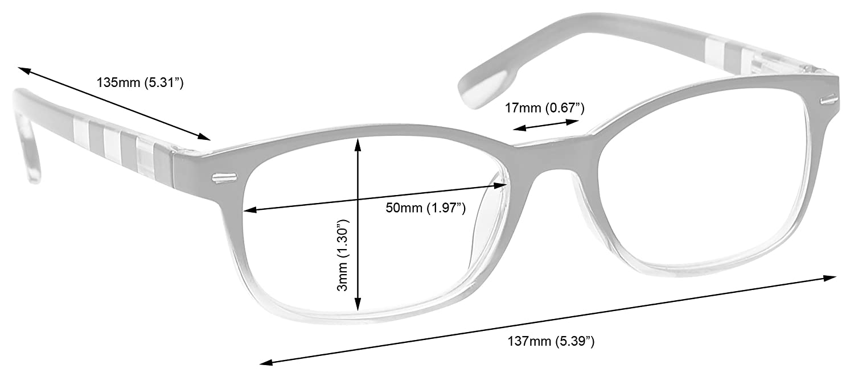 a5ea989b19 Amazon.com  The Reading Glasses Company Black Soft Blue Stripe Readers Mens  Womens R40-3 +1.00  Health   Personal Care