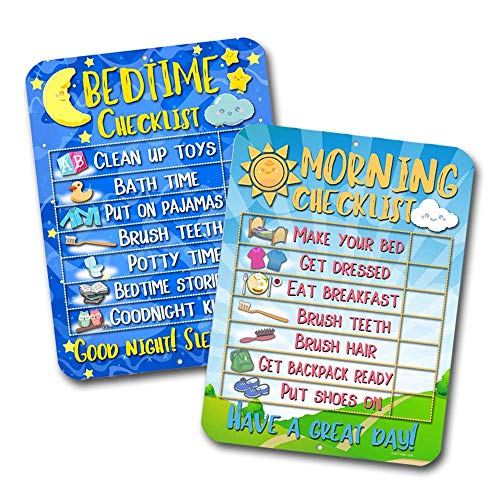 Honey Dew Gifts Daily Morning and Bedtime Routine Reward Chart (Set of 2) for Kids and Autism - Tin Learning Calendar for Kids, Teaching Tool ()