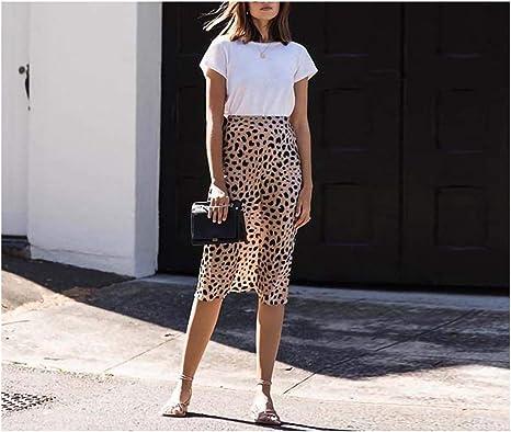 Luckyod Boho Inspired Styling Falda Leopardo Mujer Cintura Alta ...