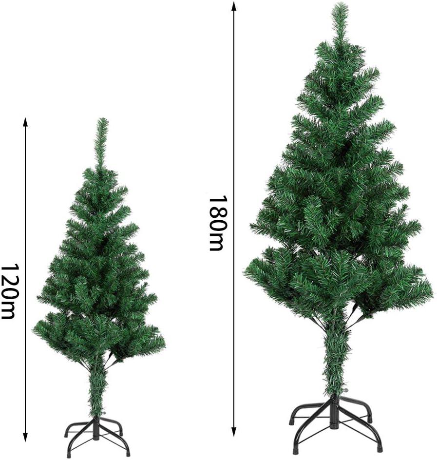 Arbre de No/ël Naturel Vert Mati/ère PVC 180cm Uten Sapin de No/ël Artificiel Socle en M/étal et Support en M/étal D/étachable