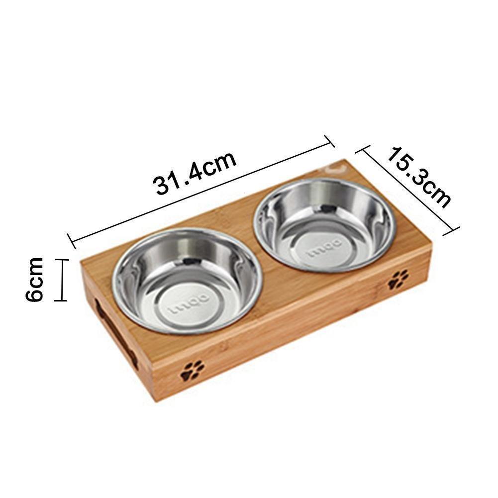juxinuk 1pc double Pet Feeder en acier inoxydable bols en bambou fond de l'eau alimentaire double usage plat d'alimentation (M)