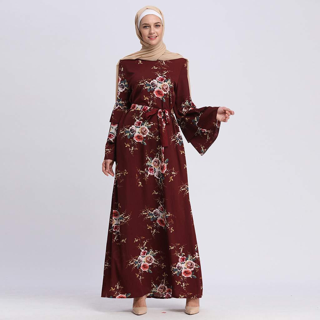 bc79617a8b84 Muslim Dress Dubai Kaftan Women Long Sleeve Arabic Long Dress Abaya Islamic  Clothing Girls Jalabiya Caftan Formal Gown Red: Amazon.ca: Clothing & ...