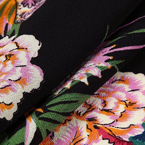 volantes delgado de verano vestido de mini Moda de una mujeres del estampado espagueti correa floral Negro Sexy SHOBDW Beach Style línea Skater qCHRwxnzn