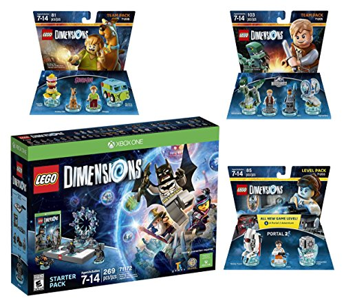 Lego Dimensions Starter Pack + Portal 2 Level Pack + Scooby Doo Team Pack + Jurassic World Team Pack for Xbox One or Xbox One S Console by WB Lego