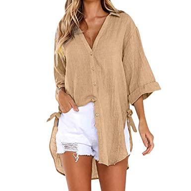 0f240a988 TUDUZ Womens Loose Button Long Shirt Ladies Baggy Cotton Linens Half Sleeve  Bow Casual Blouse Tops