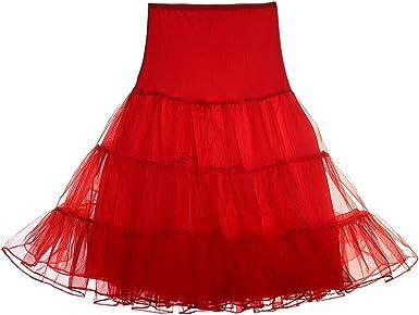HUHHRRY Mujer Falda Corta 50s Vintage Tutu Cancan Enagua Rockabily ...