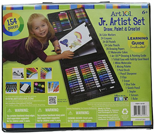 Art 101 Kids 154-Piece Trifold Easel Art Set