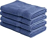 Cotton Large Hand Towels (Blue, 4-Pack,16 x 28 inches) - Multipurpose Use for Bath, Hand, Face, Gym and Spa - By Utopia Towels