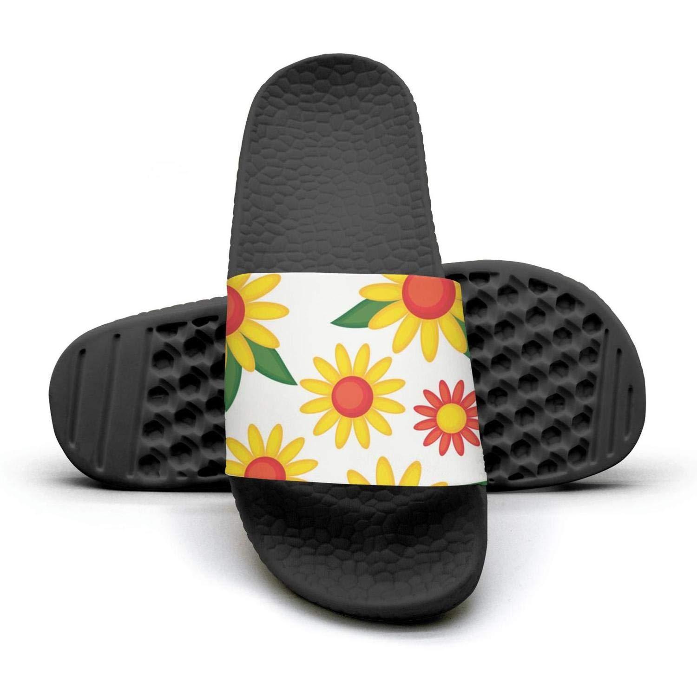 Daalgggg Mens Slipper Sunflower Decor Colorful Memory Foam Open Toe Flat Bedroom Flip Flops