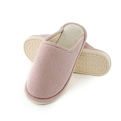 OKSOO Women's Comfort Slip Cable Knit Memory Foam Slippers Winter Warm Cotton Fabric Anti-Skid Sole Home Slipper | Slippers