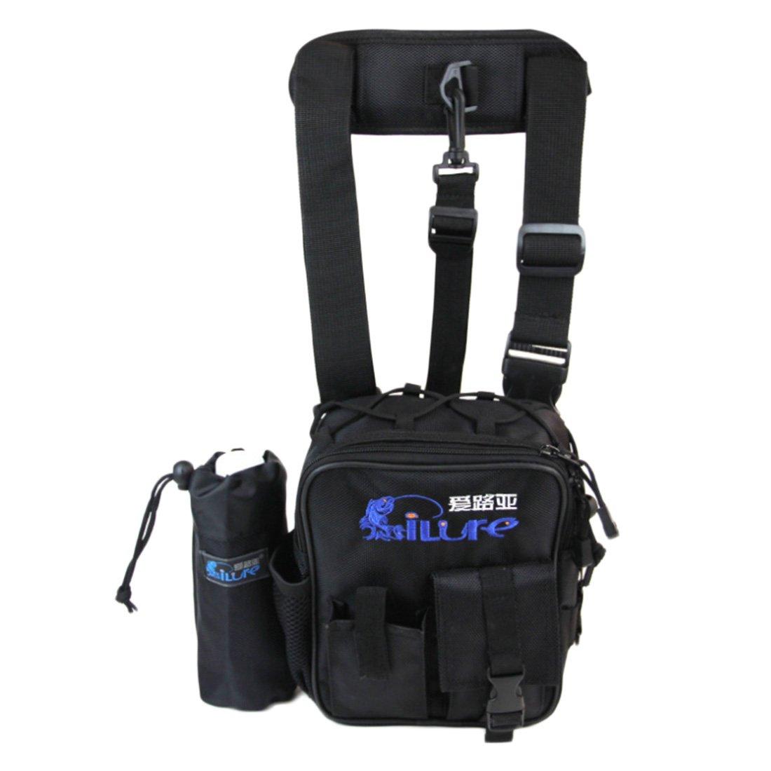 yapeachアウトドア釣りバッグ、防水釣りギアバッグ、多機能ウエストバッグwith水ボトルバッグ  ブラック B07C74PBYG