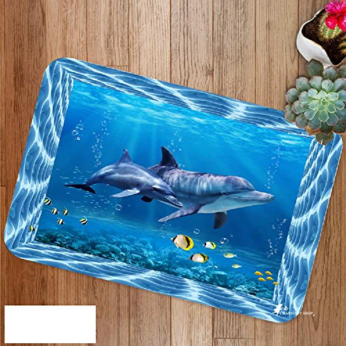 EZON-CH Modern Non Slip 3D Sea Wolrd Fish Dolphin Home Bathroom Bath Shower Bedroom Mat Toilet Floor Door Mat Rug Carpet Pad Doormat(16X24IN)