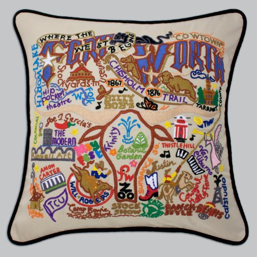 Catstudio Fort Worth Pillow by Catstudio Embroidered Pillow