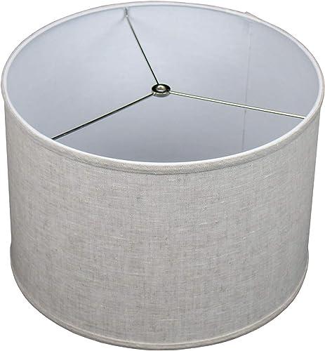 FenchelShades.com 16 Top Diameter x 16 Bottom Diameter 11 Height Cylinder Drum Lampshade USA Made Designer Linen Oatmeal