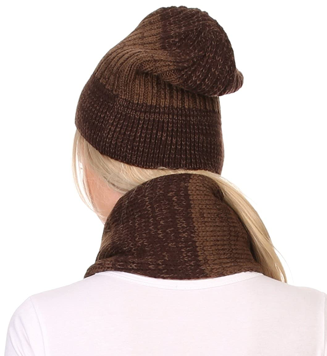 9fdc5ca6178 Sakkas CHSS1541 - Robin Unisex Ribbed Knit Heather Beanie Hat And Scarf Set  - Brown - OS at Amazon Women s Clothing store