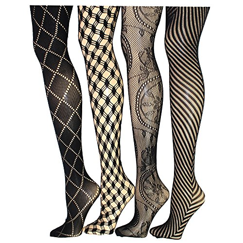 Frenchic Seamless Fishnet Lace Stocking Sexy Tights Extended Sizes (Pack of 4) (M/L, (Colored Fishnet Tights)