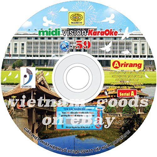 Arirang Karaoke Midi Disc Vol 59 Serial A Vietnamese English Chinese For Player Arirang AR 27C, 36C/CN, 36D, 36E, 36G, 36K, 36KR, 36L, 36M, 36N/NG, 36NR, 3600, 3600Deluxe/DeluxeA, 4500Deluxe, - Karaoke Songs Midi