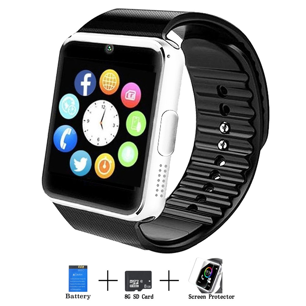Axceed Smart Watch, Bluetooth Touch Screen Smartwatch Phone with Camera Mic Speaker Pedometer Social Media Notifications Sleep Monitor Music Player for Android Samsung Huawei iOS iPhone (Black-2)
