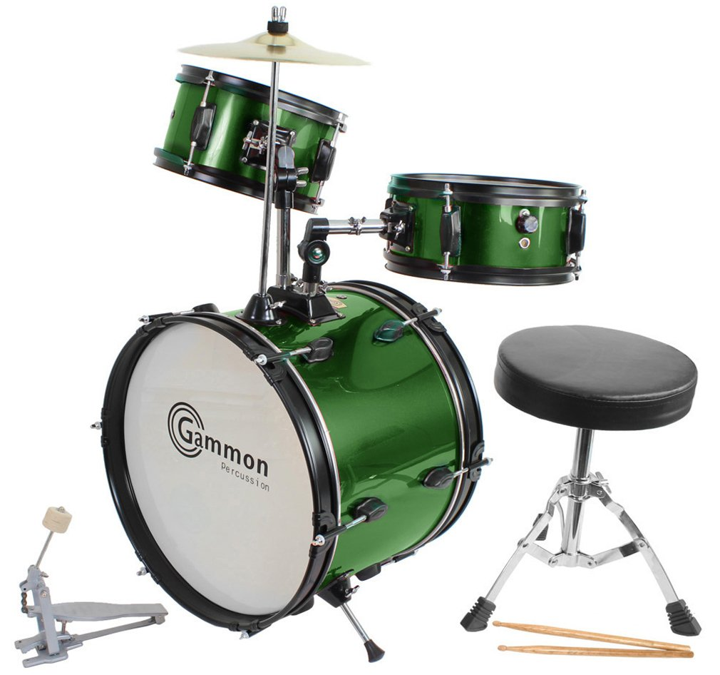 Green Drum Set Complete Junior Kit with Cymbal Stool Sticks - Everything You Need to Start Playing Gammon Percussion JR1042 GREEN AMZ