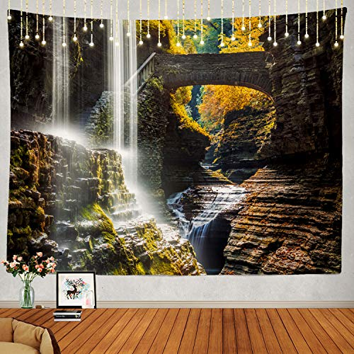 Shrahala New York Tapestry, State Park Waterfall Canyon New York Autumn Wall Hanging Large Tapestry Psychedelic Tapestry Decorations Bedroom Living Room Dorm(51.2 x 59.1 Inches, Pink 1)
