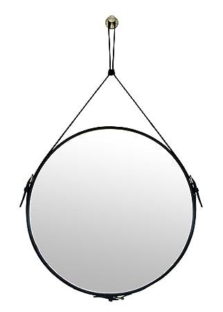 Amazon.com: Espejo de pared decorativo redondo de piel ...