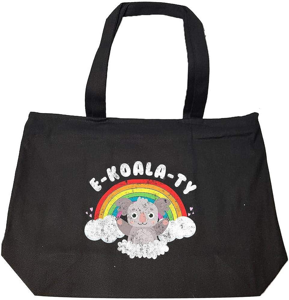 Koala Bear E-Koala-TY Rainbow Pun LGBTQ Fashion Zip Tote Bag