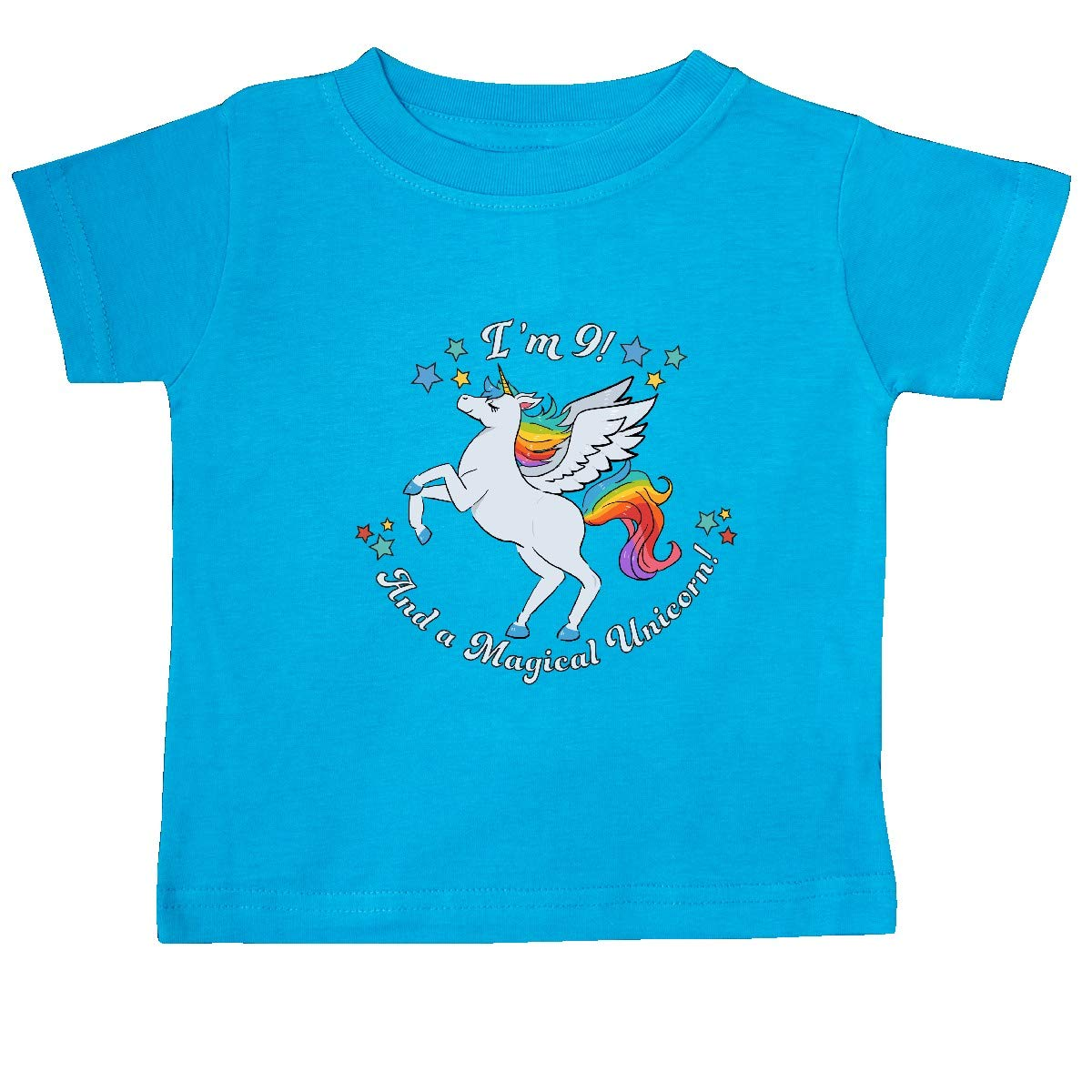 inktastic Im 9 and a Magical Unicorn-Rainbow Unicorn Baby T-Shirt