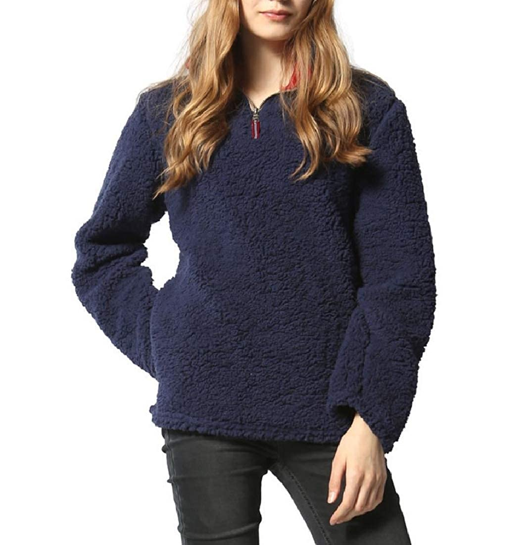 YUNY Women Pullover Sweatshirts Worsted Keeping Warm Zipper Outerwear Navy Blue 3XL